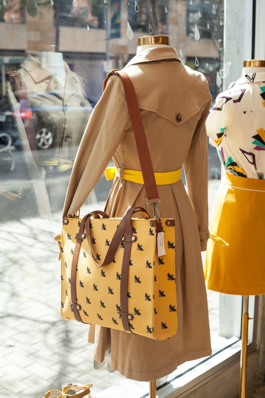 yellow and black leather cross body bag